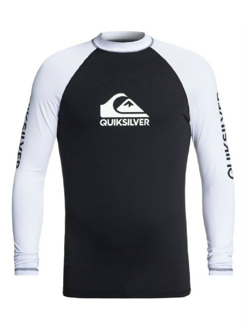 QUIKSILVER MENS RASH VEST.ON TOUR BACKPRINT UPF50+ BLACK LONG SLEEVE TOP 9S 38KV